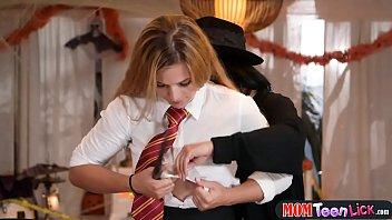 halloween trick or treat leads to magic girl-on-girl lovemaking
