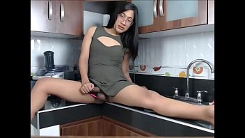Asian Tranny Playing with her Cock in the Kitchen